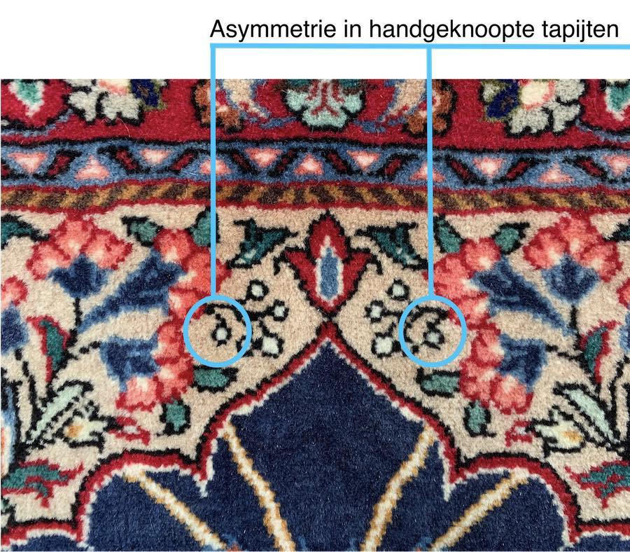 asymmetrie in handgeknoopte tapijten