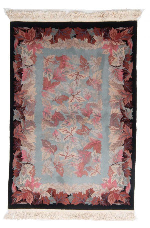 handgeknoopt tapijt china 8253 wol bladeren 1