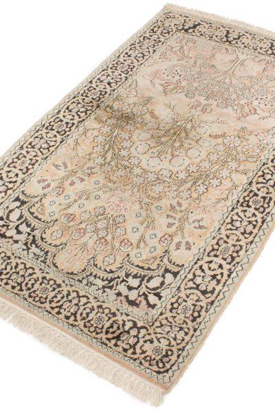 Vintage handgeknoopte zijde Kashmir tapijt 92x157 cm2