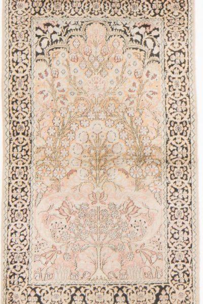 Vintage handgeknoopte zijde Kashmir tapijt 92x157 cm8
